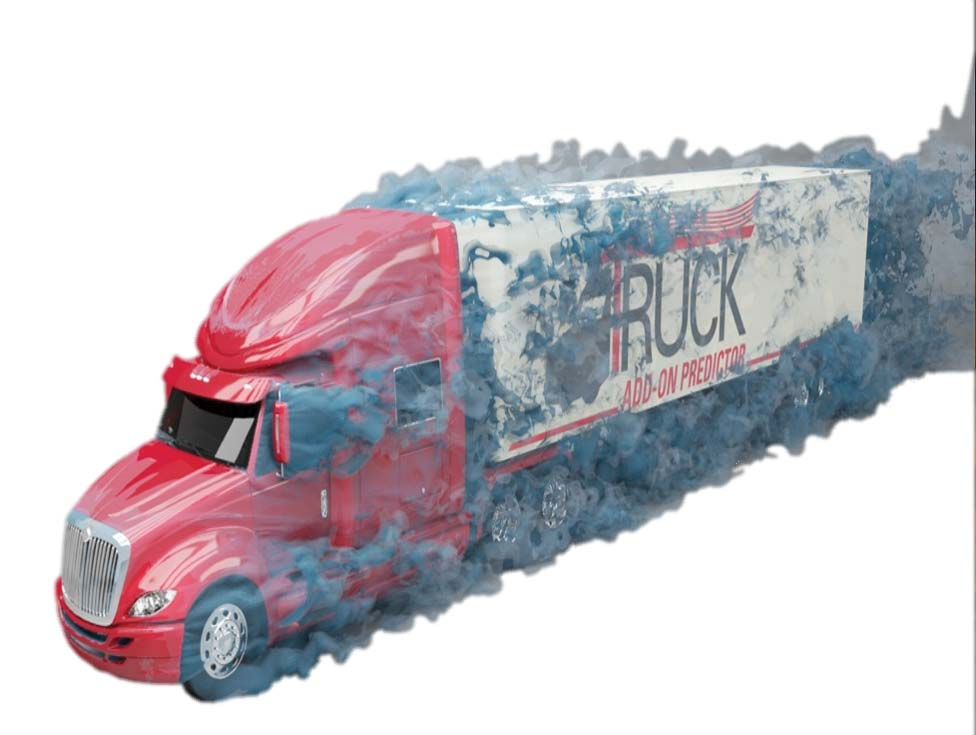 Drag analysis simulation of a semi-truck model.